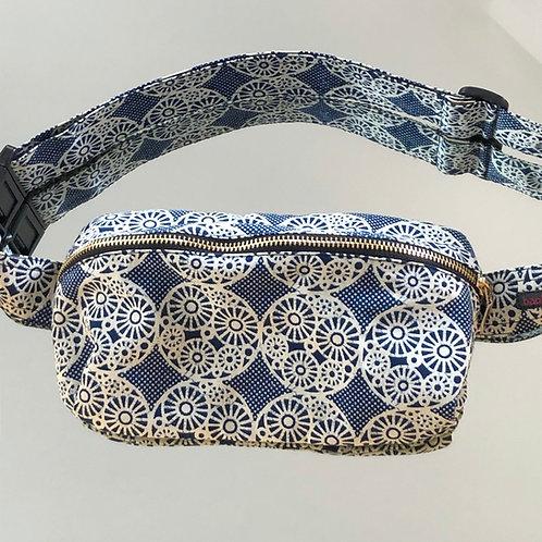 Belt bag, large size, belt wax fabric, manufactured in Paris, over-shoulder style