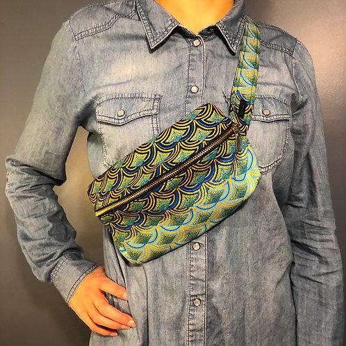 Belt bag, gold, blue, sequins, large size, belt wax fabric, manufactured in Paris, over-shoulder style