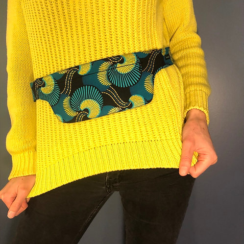 Belt bag extra flat, blue, green, gold, sequins, belt wax fabric, forró and other dances, manufactured in Paris