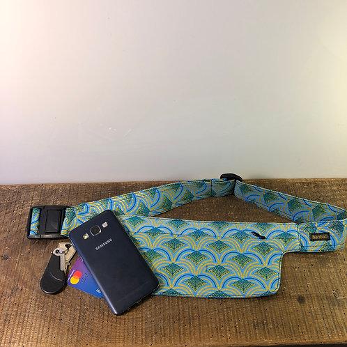 Belt bag extra flat, blue, green, gold, sequins, for forró or Salsa dance, manufactured in Paris