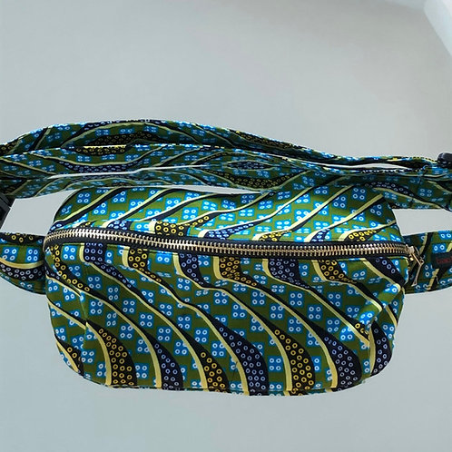 Belt bag, green, yellow, large size, belt wax fabric, manufactured in Paris, over-shoulder style