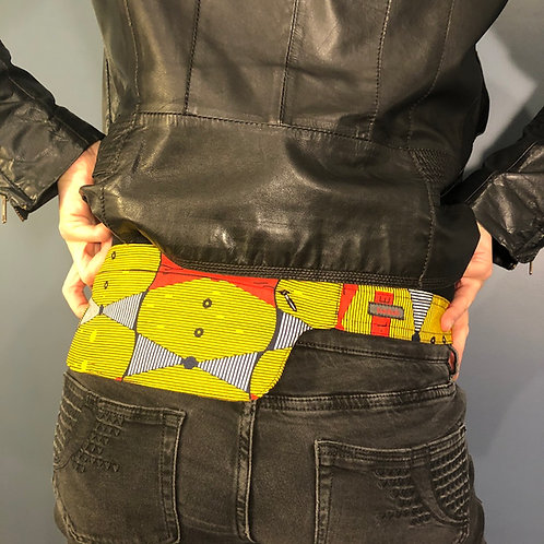 Belt bag extra flat, yellow, red, black, belt wax fabric, for forró or salsa dance, manufactured in Paris