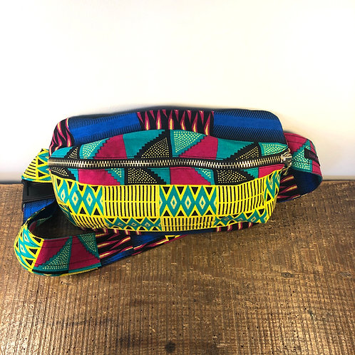 Baobab Belt bag, rainbow colored, large size, belt wax fabric, manufactured in Paris, over-shoulder style