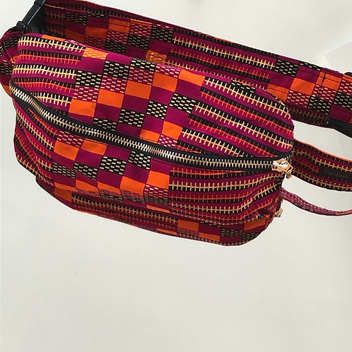 Belt bag, gold, fuxia, orange, sequins, large size, belt wax fabric, manufactured in Paris, over-shoulder style
