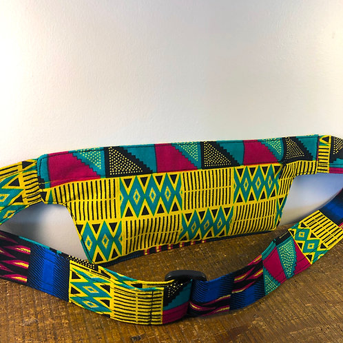 Belt bag extra flat Baobab, rainbow colored, sequins, belt wax fabric, for forró or salsa dance, manufactured in Paris