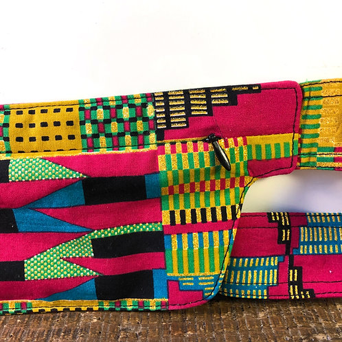 Belt bag extra flat, gold, pink, green, sequins, belt wax fabric, for forró and other couples dances, manufactured in Paris
