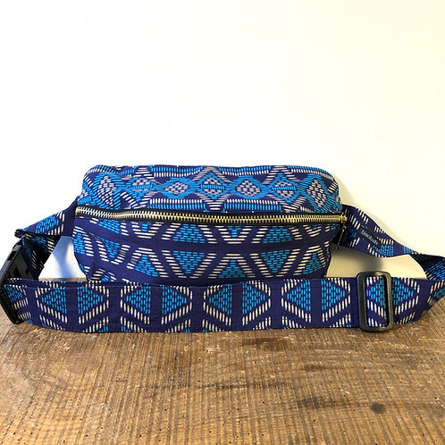 Belt bag, silver, blue, sequins, large size, belt out of wax fabric, manufactured in Paris, over-shoulder style