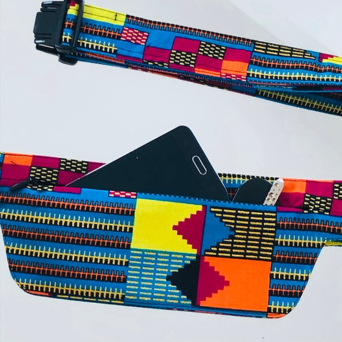 Belt bag extra flat, multicoloured, sequins, belt wax fabric, for forró or salsa dance, manufactured in Paris