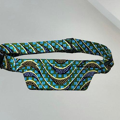 Belt bag extra flat, blue, dark blue, green, unisexe, belt wax fabric, for forró or salsa dance, manufactured in Paris