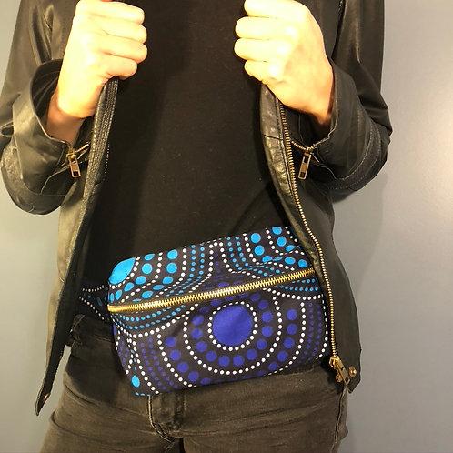 Baobab Belt bag, blue cercles, large size, belt wax fabric, manufactured in Paris, over-shoulder style