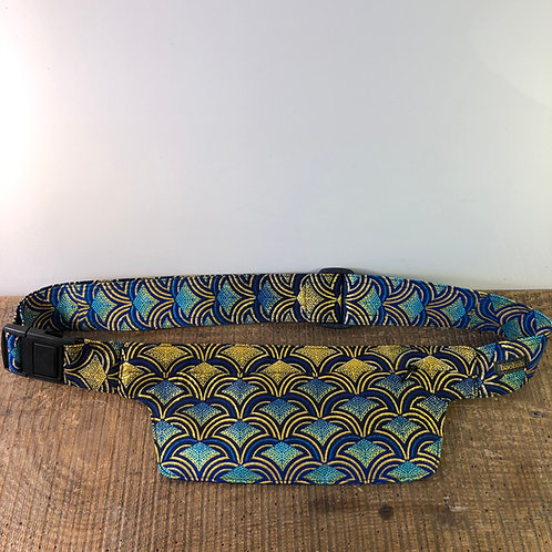 Belt bag extra flat, blue, dark blue, gold, sequins, belt wax fabric, for forró and salsa dance, manufactured in Paris