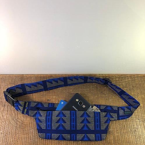 Belt bag extra flat, blue, dark blue, gold, sequins, belt wax fabric, for forró or salsa dance, manufactured in Paris