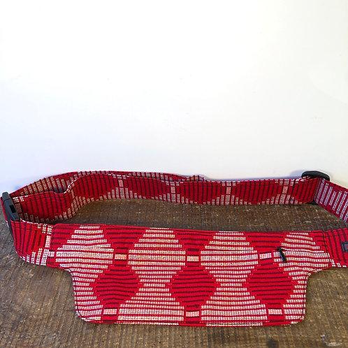 Belt bag extra flat, red, gold, sequins, belt wax fabric, for forró salsa dance, designed manufactured in Paris