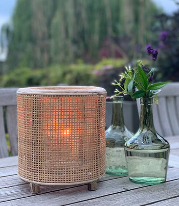 Wicker and glass table lantern