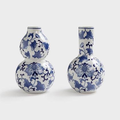Blue & white large bud vase set of 2
