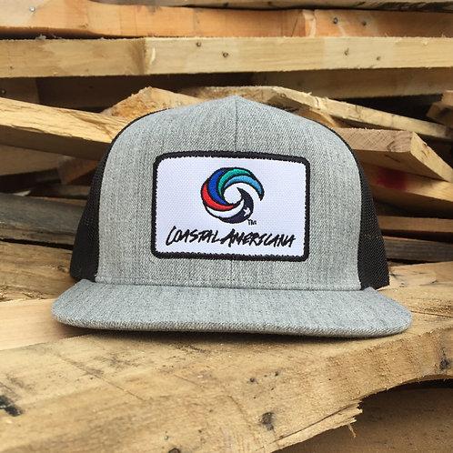 Flat Bill Patch Hat Trucker Heathered Grey/Black