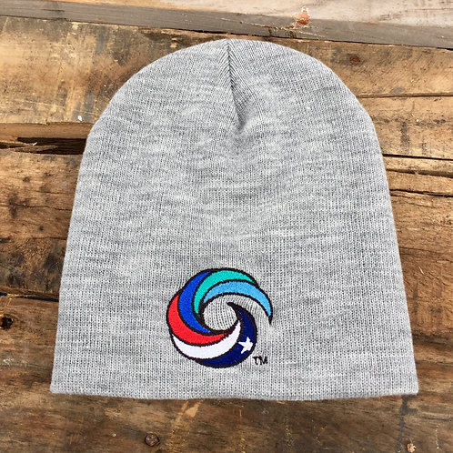 Coastal Beanie Heathered Grey Full Color Wave