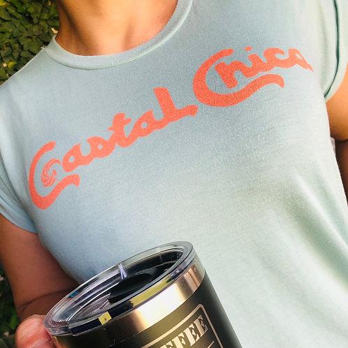 PRE-ORDER :Coastal Chica Women's Flowy Tee with rolled cuff (Dusty Blue)