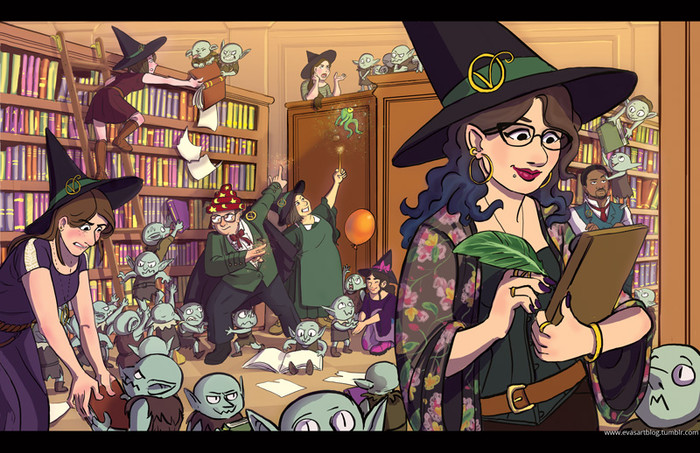 Bookstore Witch Illustration