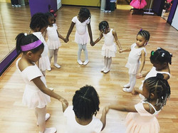 Our Thursday night prayer group 💜💛 our tiny ballerinas love to pray. They each take a turn