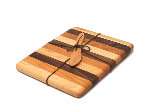 8x10 Mixed Wood Cutting Board (Maple Cherry Walnut)