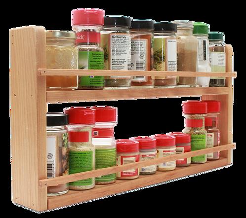 Hardwood Two-Tier Spice Shelf