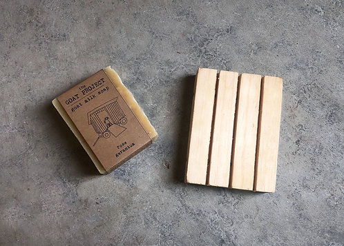 Vermont Made Goat Milk Soap with Wooden Soap Holder