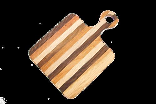 Multi-Hardwood Cutting Board with Round Handle
