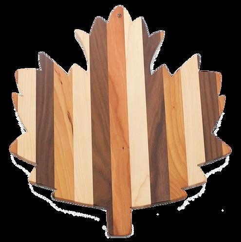 Mixed Wood Maple Leaf Cutting Board