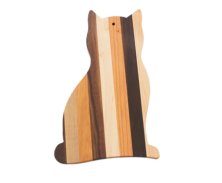 Mixed Wood Cat Shaped Cutting Board