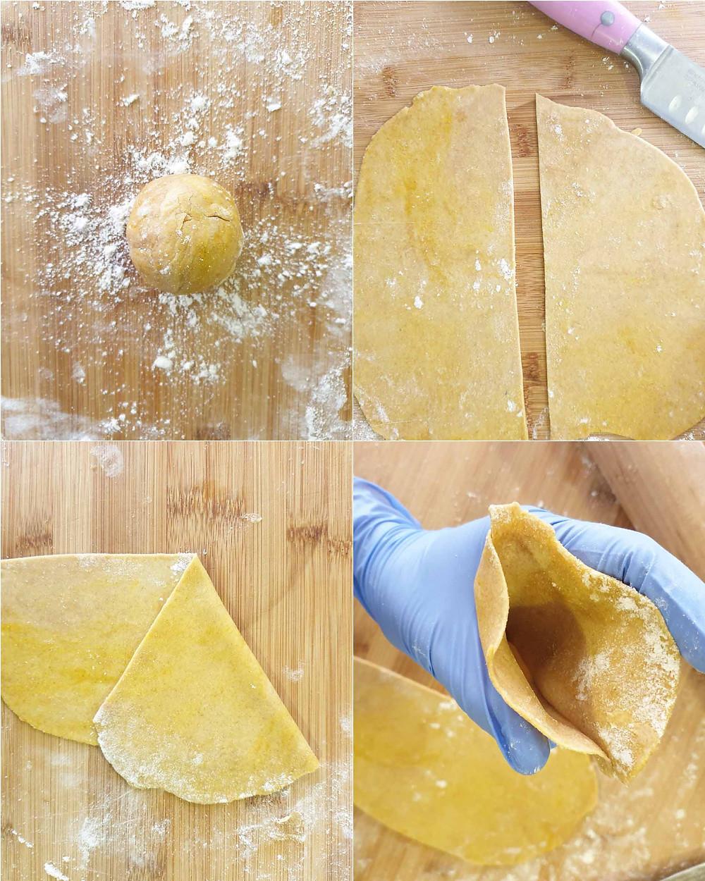 סמוסה טבעונית אפויה מקמח כוסמין מלא לצד יוגורט טבעוני מרענן