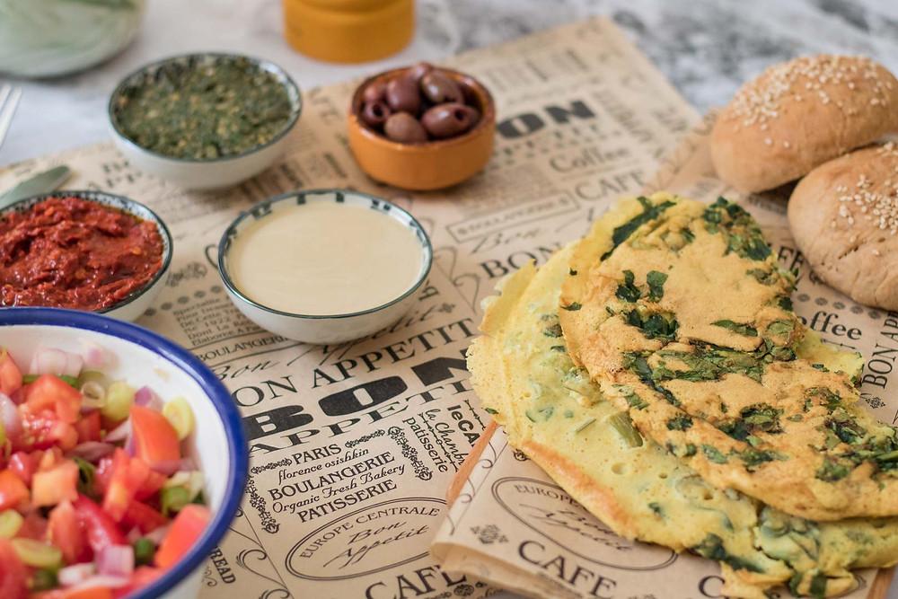 חביתה טבעונית ללא גלוטן ארוחת בוקר טבעונית