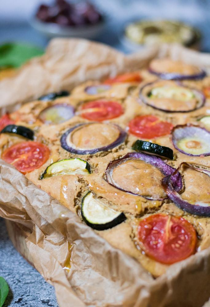 פוקאצ'ה חומוס ביתית ללא גלוטן פוקאצ'ה טבעונית עם חלבון מהצומח
