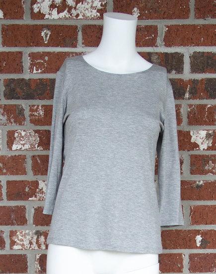 Light Gray Rayon 3/4 Sleeve Shirt