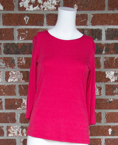 Hot Pink Rayon 3/4 Sleeve Shirt