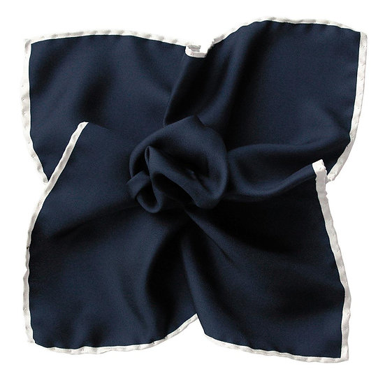 Blue and White Pocket Square