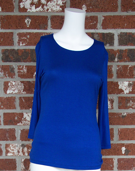 Royal Blue Rayon 3/4 Sleeve Shirt