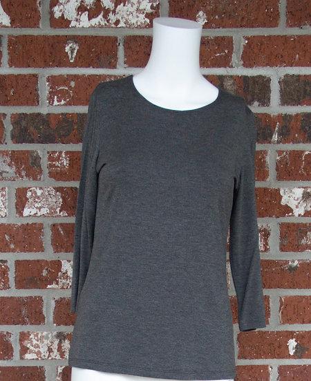 Dark Gray Rayon 3/4 Sleeve Shirt