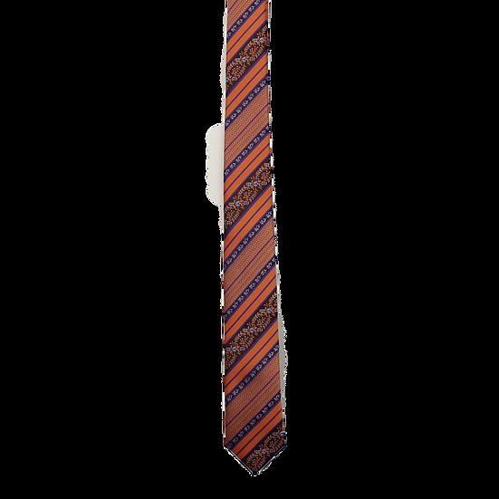 Orange & Navy Floral/Dot/Stripe Tie