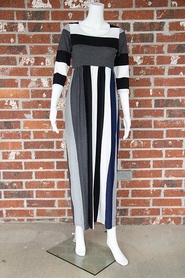 Navy and Gray Stripe Maxi Dress