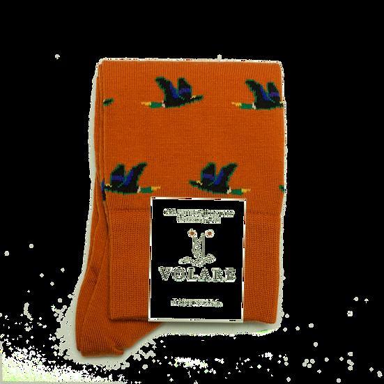 Orange Mallard Pattern Socks