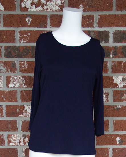 Navy Rayon 3/4 Sleeve Shirt