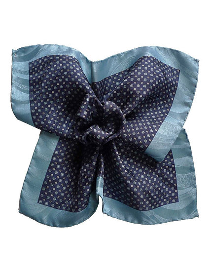 Blue Printed Pocket Square