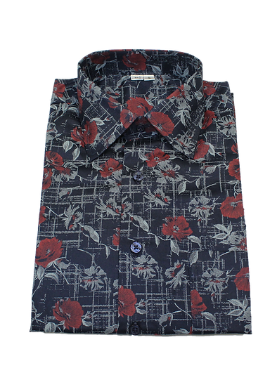 Navy and Red Flower Shirt
