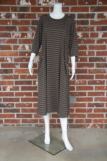 Mocha/Charcoal Stripe Dress