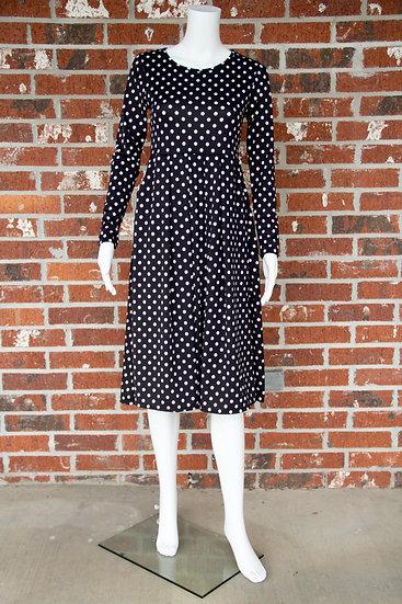 Black and White Dot Midi Dress