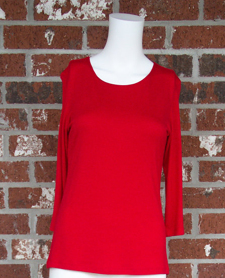 Red Rayon 3/4 Sleeve Shirt