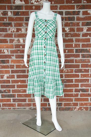 Green and Ivory Plaid Midi Dress