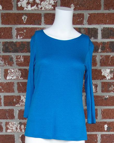 Turquoise Rayon 3/4 Sleeve Shirt