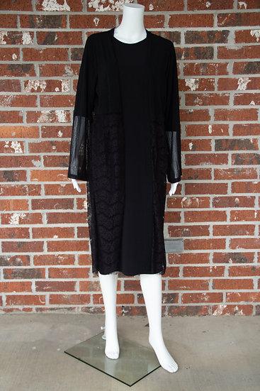 Black Lace Open Front Kimono